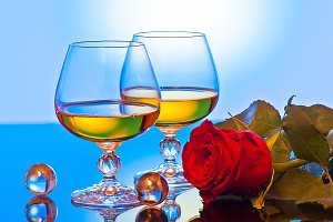 Composition roses wine in glass