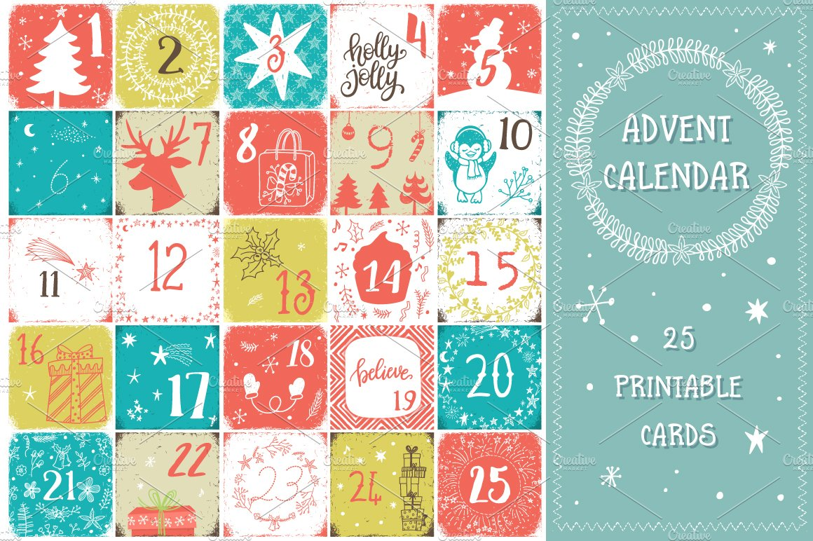 christmas advent calendar graphic objects creative market. Black Bedroom Furniture Sets. Home Design Ideas