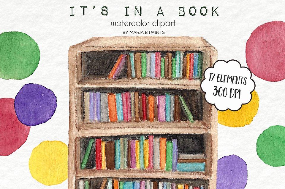 Watercolor Clip Art - Books ~ Illustrations ~ Creative Market