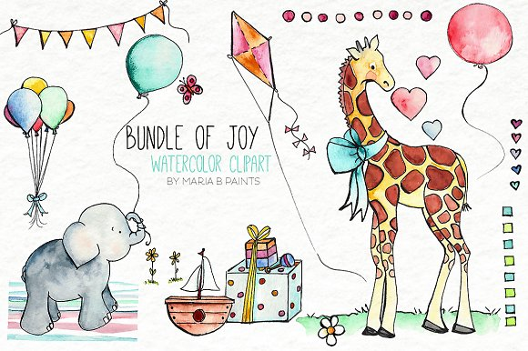 Baby Shower Watercolor Clipart Illustrations Creative Market