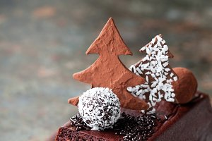Chocolate and nuts Christmas cake