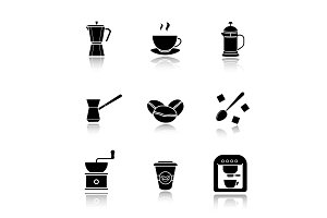 Coffee. 9 icons. Vector