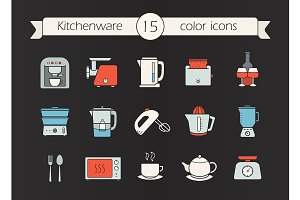 Kitchen appliances. 15 icons. Vector