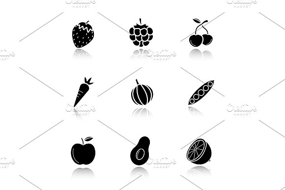 Fruit and vegetables 9 icons. Vector - Icons