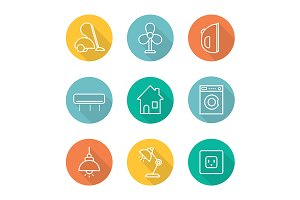 Appliances. 9 icons. Vector