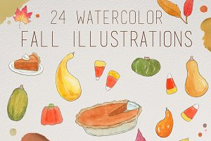 Watercolor Fall Illustrations