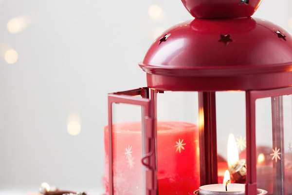 Christmas lantern with candles