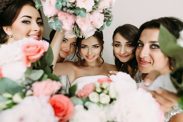 Bride's face in the middle
