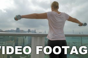 Woman doing shoulder exercises