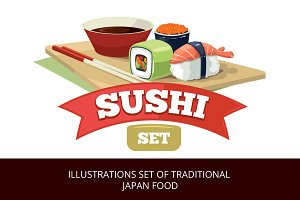 Illustration set of japan food