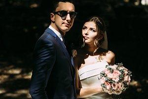 Bride is watching her handsome groom