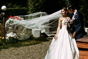 Bride in the long veil