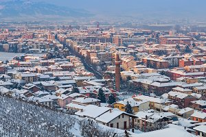 Town of Alba covered with snow.