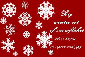 Big winter set of snowflakes