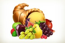Harvest fruits. 3d vector icon
