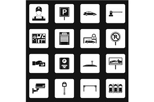 Parking icons set, simple style