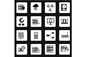 Database icons set, simple style