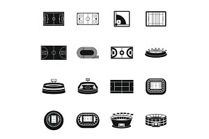 Sport stadium icons set