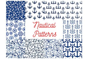 Blue nautical seamless patterns