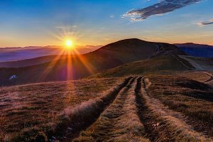 Sunrise at Carpathian mountains