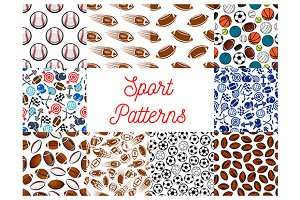 Sporting items seamless patterns