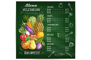 Vegetarian food restaurant menu