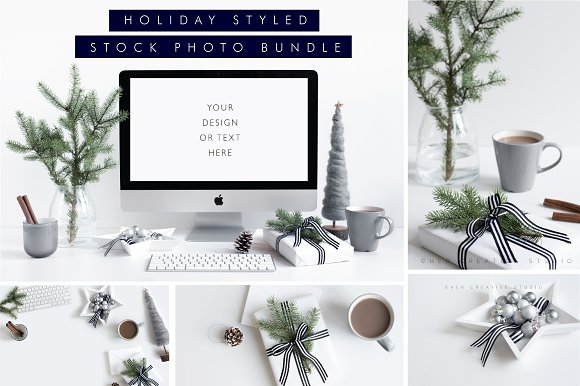 Holiday Styled Stock Bundle Grey - Product Mockups