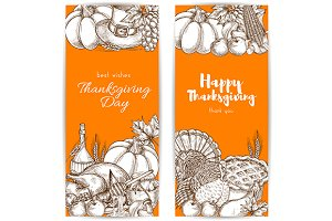 Thanksgiving day greeting banners
