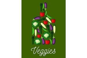 Cutting board with veggies