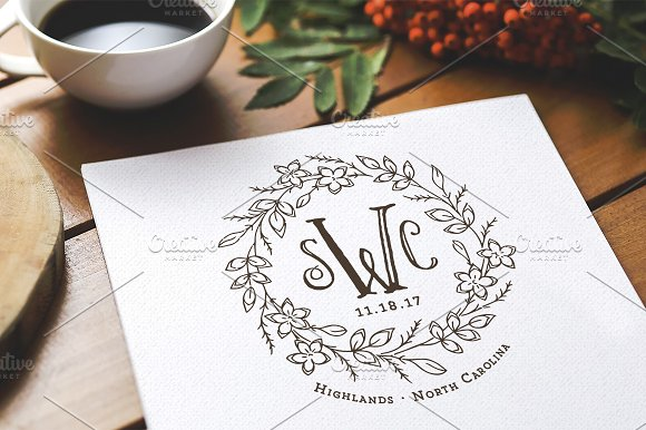 Storybook Fairytale Wedding Monogram Logo Templates Creative Market
