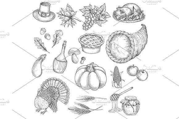 Thanksgiving sketch vector in Graphics