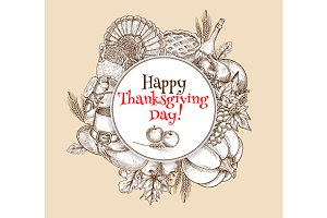 Thanksgiving vector greeting card