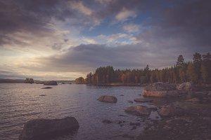 Lake before dusk - Fall warm tones