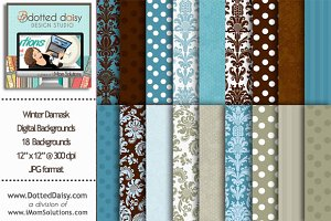 Winter Damask Digital Backgrounds