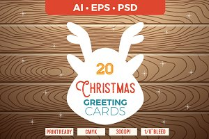 20 Christmas Cards template AI, PS