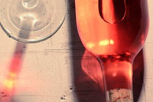Red Wine Bottle and Reflections