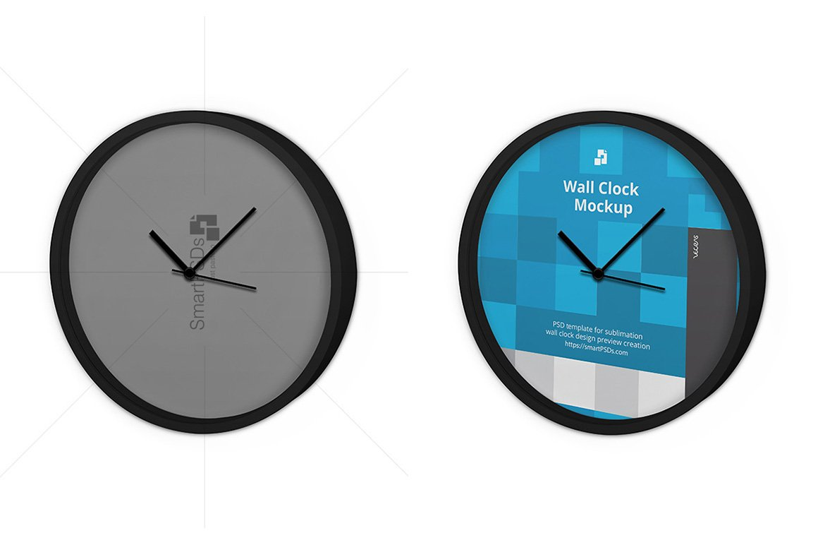 Wall Clock Design Template : Round wall clock design mockup product mockups