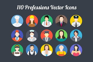 110 Professions Vector Icons