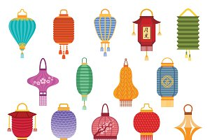 Chinese lantern collection vector