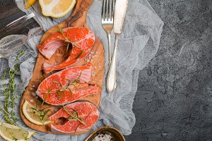 Steak of fresh salmon