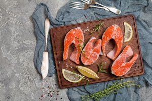 Steak of fresh salmon