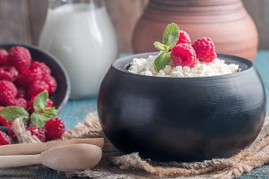 Fresh homemade cottage cheese