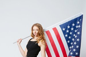 beautiful girl with american flag