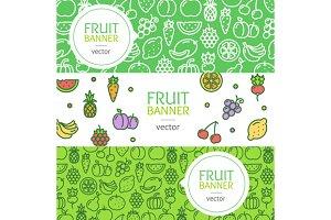 Vegan Banner Flyer Set. Vector