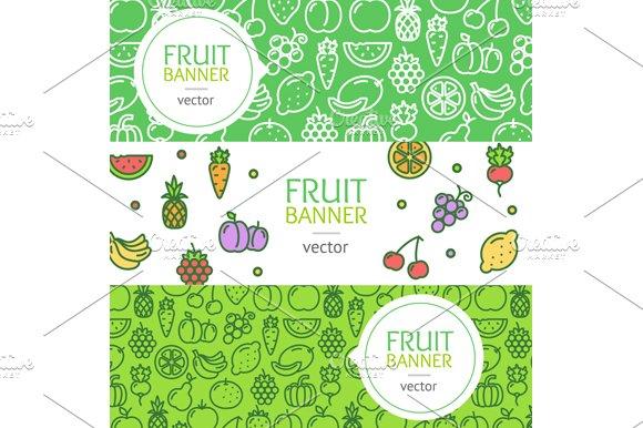 Vegan Banner Flyer Set. Vector - Illustrations
