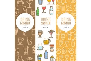 Drink Banner Flyer Set. Vector