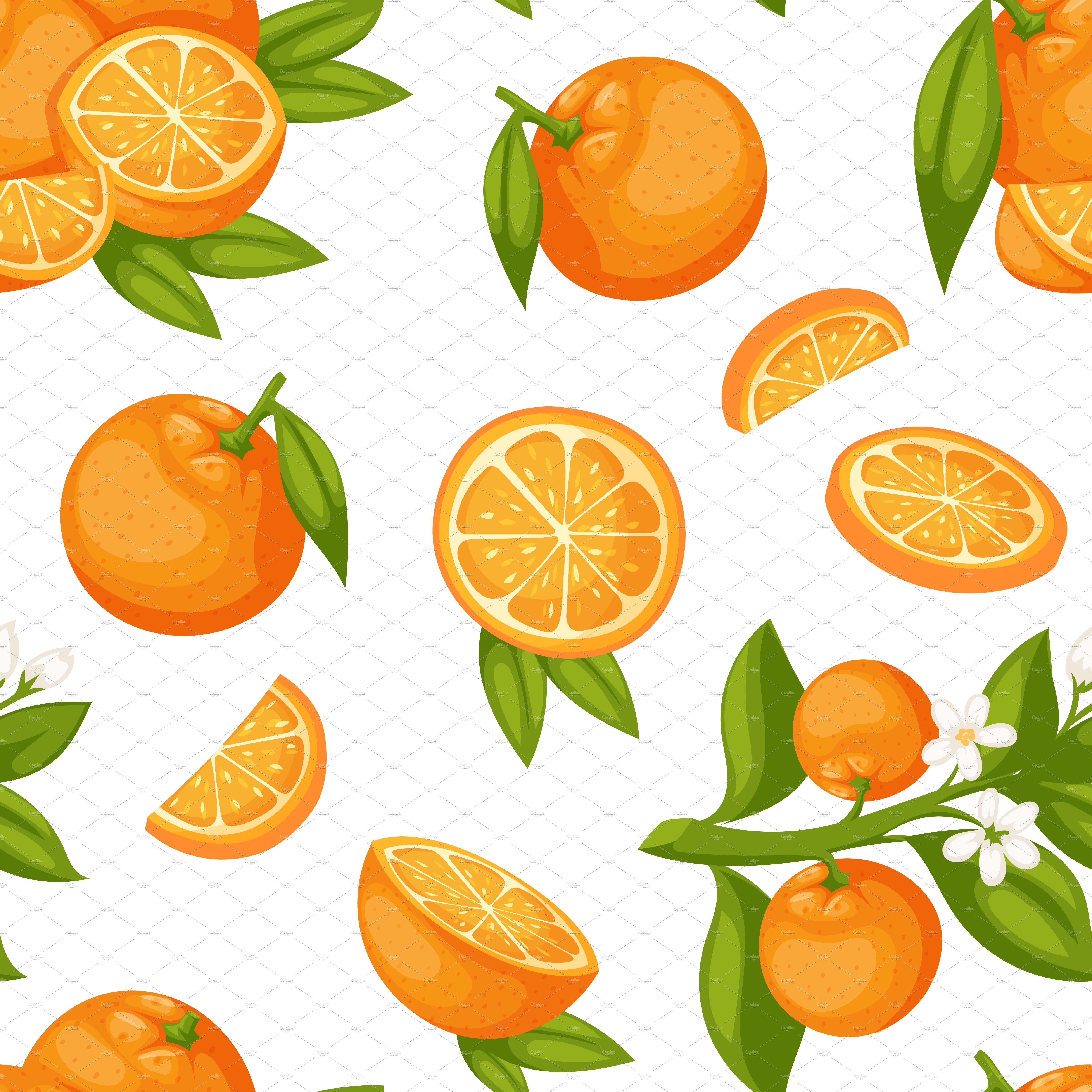 Orange fruit seamless pattern vector ~ Illustrations ...
