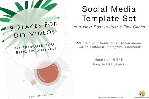 Social Media Template Set Cup of Tea