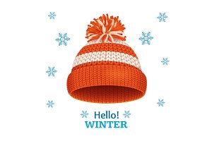 Knitted Woolen Red Hat Card