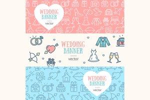 Wedding Banner Flyer Set. Vector